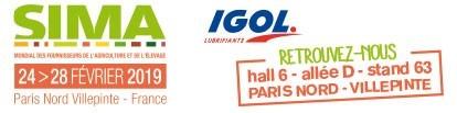 SIMA, PARIS NORD - VILLEPINTE du 24 au 28 février 2019, IGOL vous attend au hall6 - allée D - stand 63