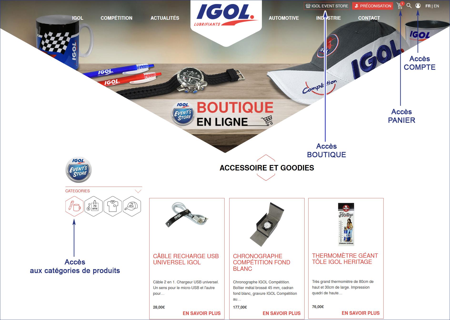 IGOL LANCE SA BOUTIQUE EN LIGNE : IGOL EVENT STORE ! dans - - - NEWS INDUSTRIE aide-commande-boutique-igol